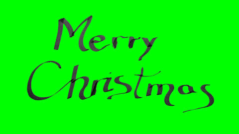 Green screen animation calligraphy writing merry Christmas with black ink on Animation