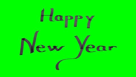 Green screen animation calligraphy writing happy new year with black ink on Animation