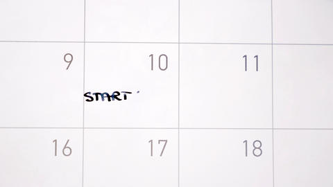 Animation writing start diet marking the day in calendar with black ink Animation