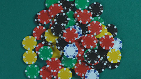 Lucky casino player winning the prize and taking all chips, success and fortune Footage