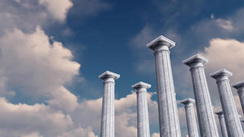 3D ancient columns in a row against cloudy sky GIF