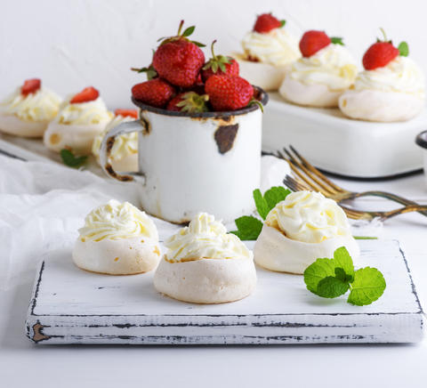 baked cake of whipped proteins and cream Photo