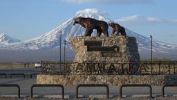 Sculpture composition of Kamchatka brown bear family - she-bear with bear cub Footage