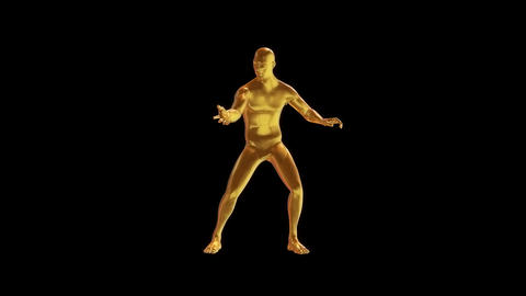 3D Gold Man Animation Loop Motion Graphic Element Animation