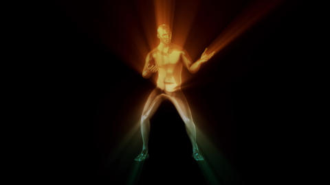 3D Metal Man with Orange Green Light Rays Loop Graphic Element Animation