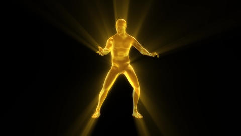 3D Gold Man with Light Rays Animation Loop Graphic Element Animation