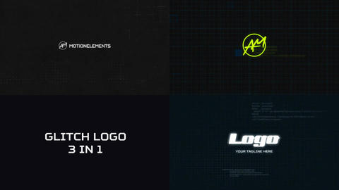 Glitch Logo 3 in 1 After Effects Template