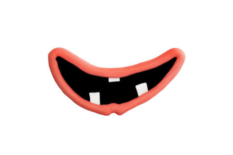 Mouth And Lips Made Of Plasticine Isolated on White Background Photo