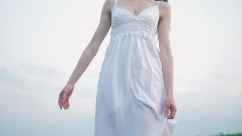 tender sensual spring fashion portrait of a beautiful happy young woman in white Footage