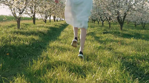 Beauty young woman enjoying nature in spring apple orchard, Happy Beautiful girl Footage