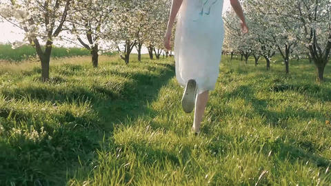 Beauty young woman enjoying nature in spring apple... Stock Video Footage