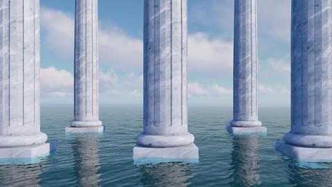 Classic antique columns among open sea 3D concept Live Action