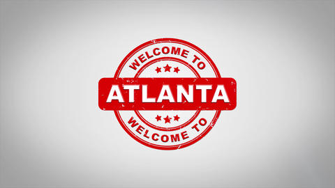 Welcome to ATLANTA Signed Stamping Text Wooden Stamp Animation Animation