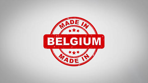 Made In BELGIUM Signed Stamping Text Wooden Stamp Animation Animation