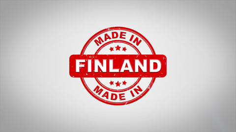 Made In FINLAND Signed Stamping Text Wooden Stamp Animation Animation