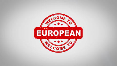 Welcome to EUROPEAN Signed Stamping Text Wooden Stamp Animation Animation