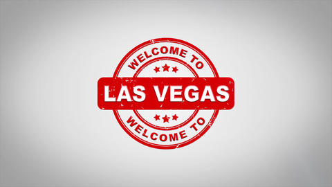 Welcome to LAS VEGAS Signed Stamping Text Wooden Stamp Animation Animation