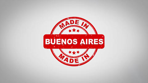 Made In BUENOS AIRES Signed Stamping Text Wooden Stamp Animation Animation