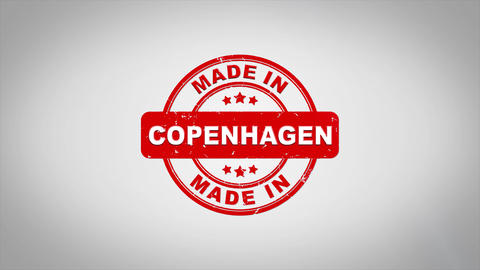 Made In COPENHAGEN Signed Stamping Text Wooden Stamp Animation Animation