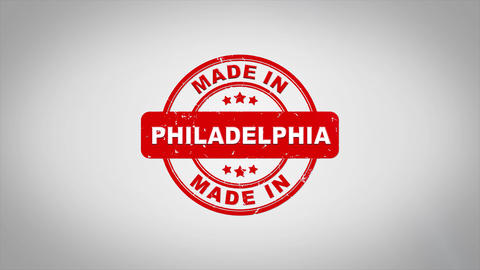 Made In PHILADELPHIA Signed Stamping Text Wooden Stamp Animation Animation