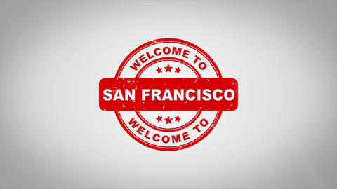 Welcome to SAN FRANCISCO Signed Stamping Text Wooden Stamp Animation Animation