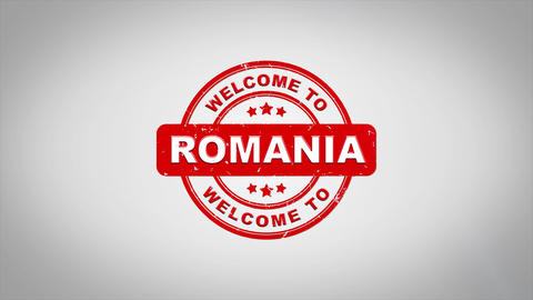 Welcome to ROMANIA Signed Stamping Text Wooden Stamp Animation CG動画素材