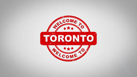 Welcome to TORONTO Signed Stamping Text Wooden Stamp Animation CG動画素材
