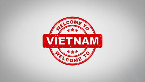 Welcome to VIETNAM Signed Stamping Text Wooden Stamp Animation CG動画素材