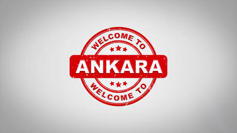 Welcome to ANKARA Signed Stamping Text Wooden Stamp Animation Animación