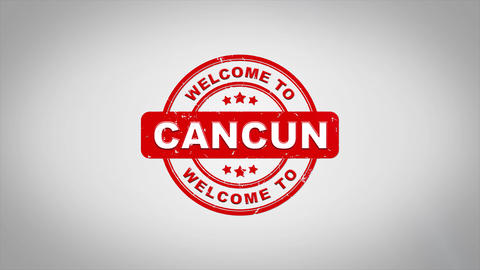 Welcome to CANCUN Signed Stamping Text Wooden Stamp Animation Animation