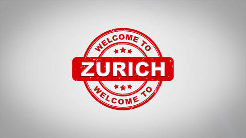 Welcome to ZURICH Signed Stamping Text Wooden Stamp Animation Animation