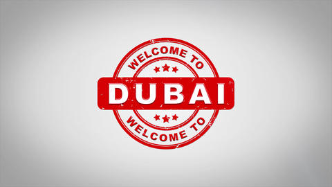 Welcome to DUBAI Signed Stamping Text Wooden Stamp Animation Animation
