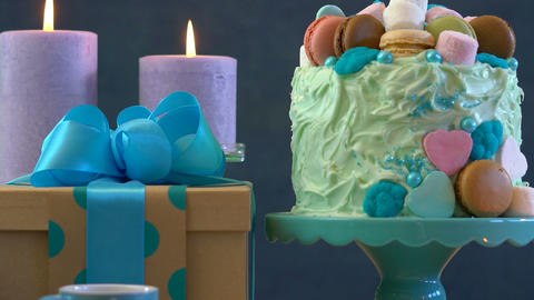 Happy Fathers Day or masculine birthday party table with showstopper cake Live Action