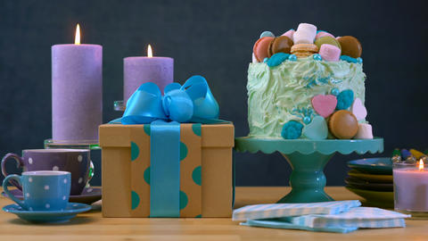 4k Happy Fathers Day or masculine birthday party table with showstopper cake Live Action