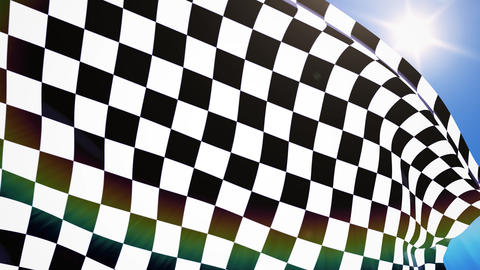 Close-up checkered race flag waving Animation