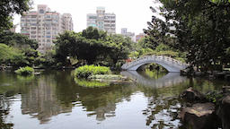 Chinese garden at National concert hall and National theatre Taipei Taiwan Footage