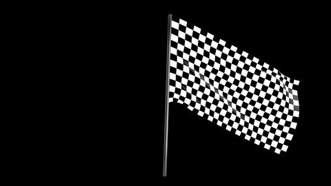 Checkered race flag waving with an alpha channel Footage