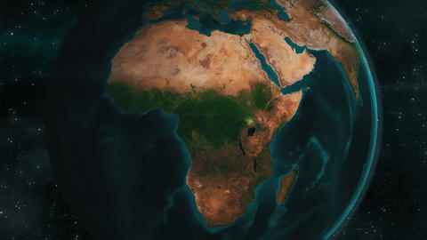 Earth zoom to Africa, 4K animation Footage