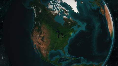 Earth zoom to the Great Lakes in North America Live Action
