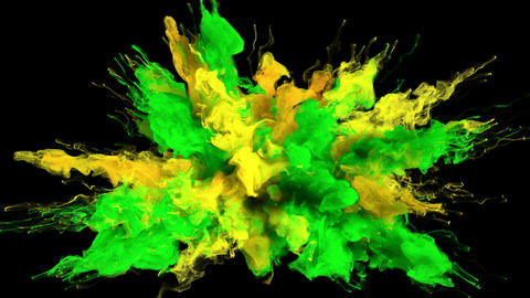 Color Burst - colorful yellow green smoke explosion fluid particles alpha matte Animation