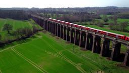 Ouse Valley Viaduct as an express train crosses ビデオ