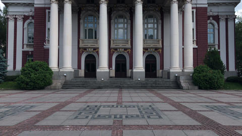 Ivan Vazov national theater in Sofia, Bulgaria Footage