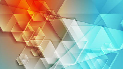 Blue orange concept video animation with glossy hexagons Animation