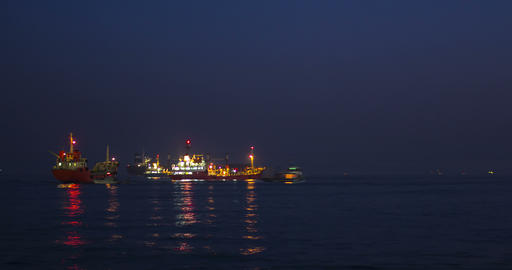 Fishing boat and Cargo Ships at Sunset. Istanbul, Turkey 영상물