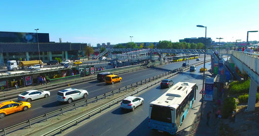 ISTANBUL, TURKEY - JULY 25, 2016: City traffic at Merter in Istanbul Footage