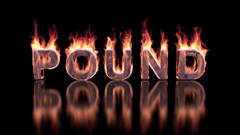Pound word burning in flames on the glossy surface, financial 3D illustration Animation