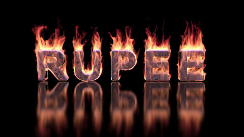 rupee word burning in flames on the glossy surface, financial 3D illustration Animation
