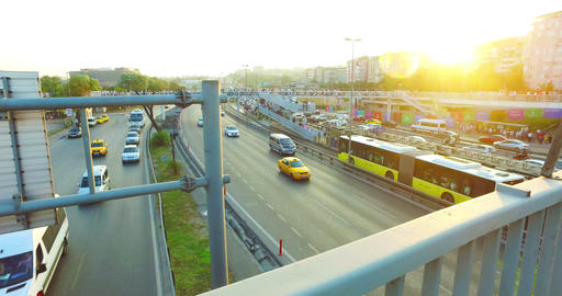ISTANBUL, TURKEY - JULY 25, 2016: City traffic at Merter in Istanbul Live Action