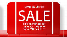 Sales promotional animation video with the inscription 60 percent's discount Animation