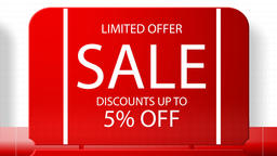 Sales promotional animation video with the inscription 5 percent's discount. Big Animation